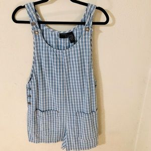 VTG 90s Blue White Checkered Romper Size Small
